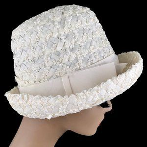 Vintage 60s Woven Raffia Bucket Breton Wedding Hat